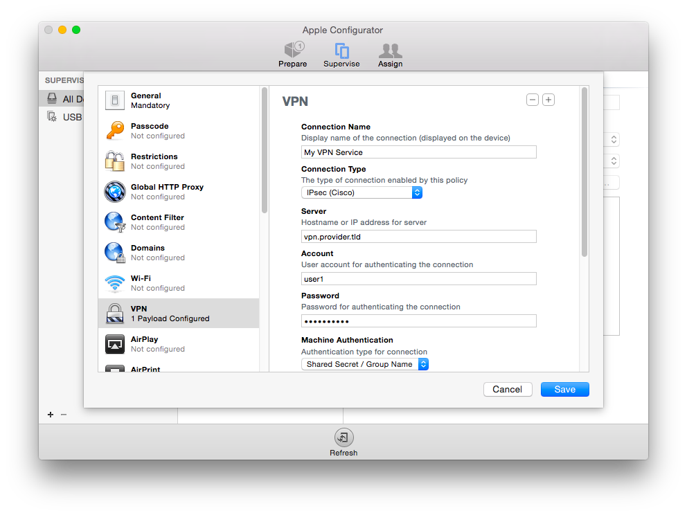 apple configurator. configure vpn and enter details.