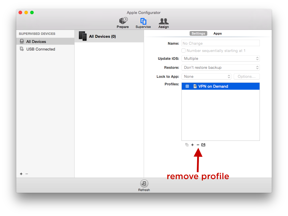 apple configurator. remove profile