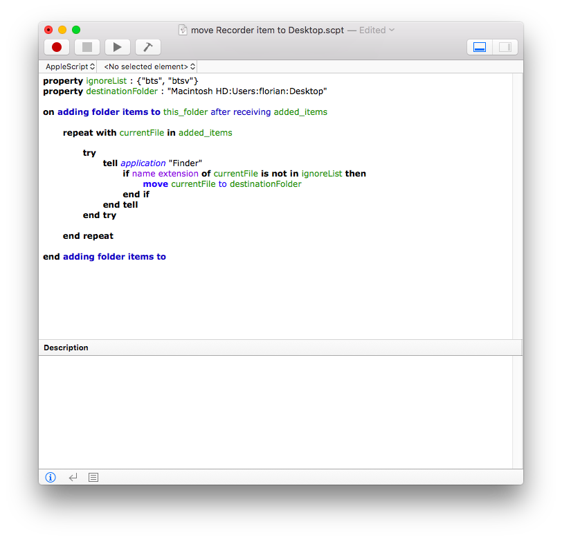 screenshot of script editor with the above mentioned script