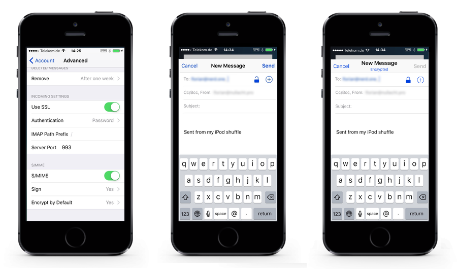 iphone: email settings, smime