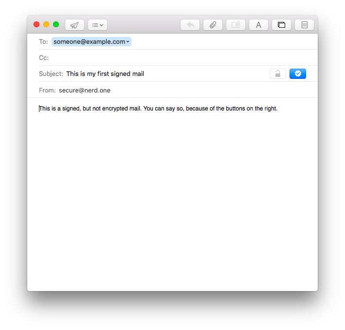 screenshot: new mail, using s/mime on os x