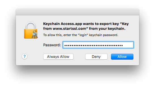 screenshot: allow keychain access the export