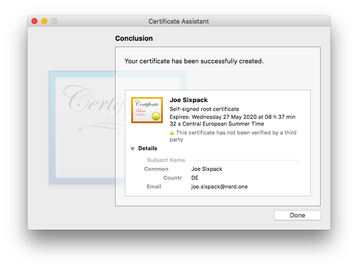 screenshot: certificate assistant, conclusion