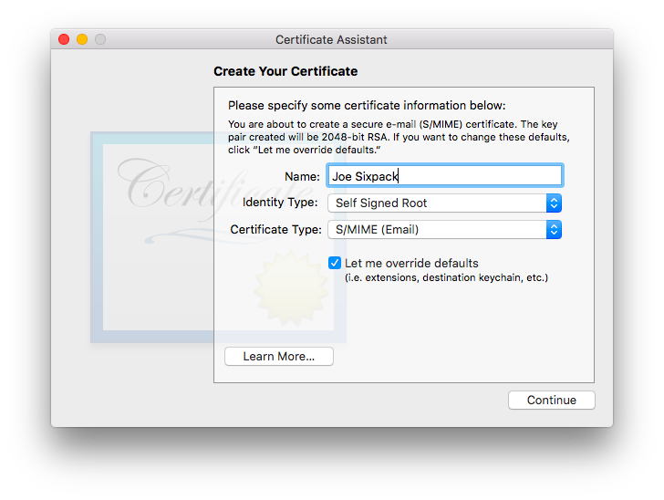 screenshot: certificate assistant, name
