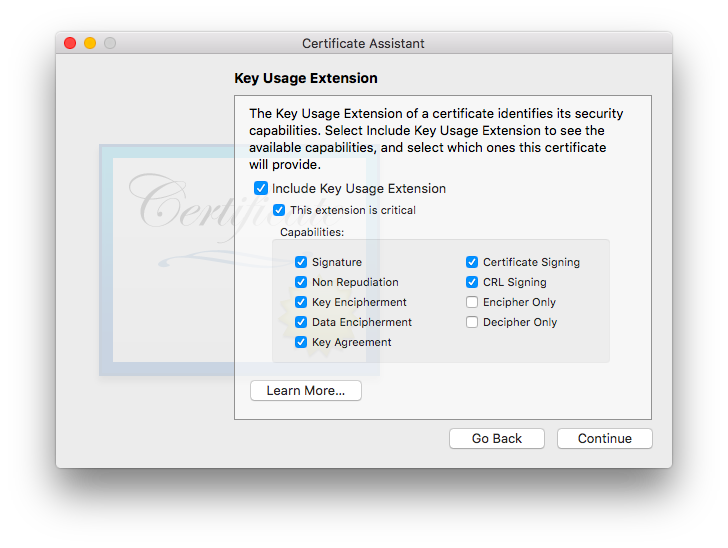 screenshot: certificate assistant, key usage extension