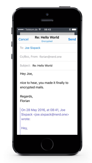 screenshot: iphone mail, encrypted response