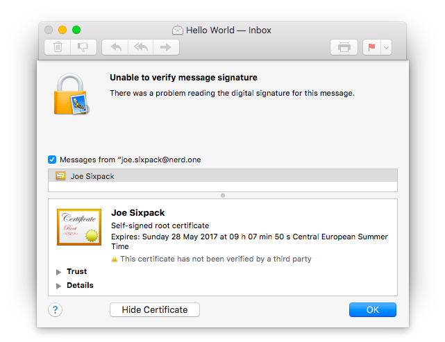 screenshot: mail app, install certificate using show details window