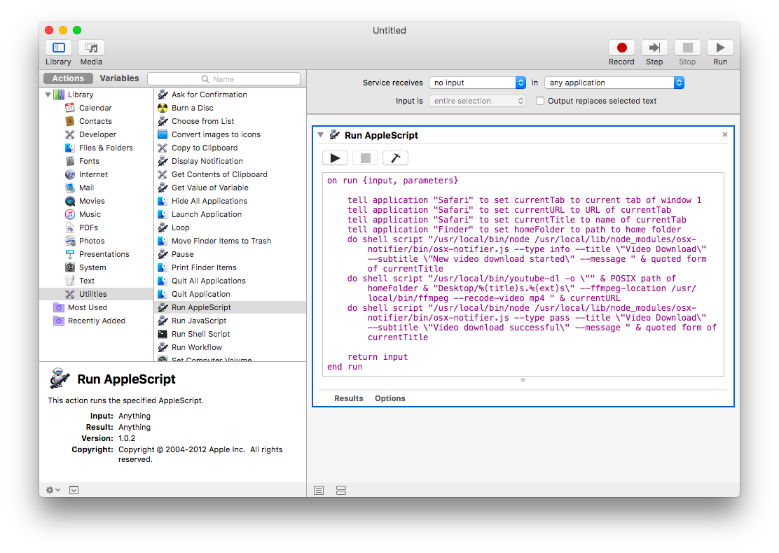 screenshot: automator, run applescript