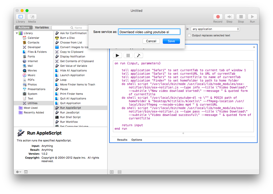 screenshot: automator, save service